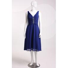 Elegant V-Neck Sleeveless Knee Length Chiffon Homecoming Dresses