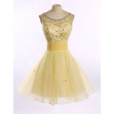 Ravishing A-Line Short Tulle Homecoming Party Dresses with Crystal Beading Bodice