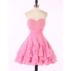 Discount Sweetheart Chiffon Ruffled Skirt Beaded Homecoming Dresses