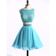 Sexy A-Line Sleeveless Short Chiffon Two-Piece Homecoming Dresses