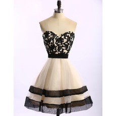 Sweetheart Knee Length Organza Applique Homecoming Dresses