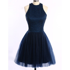 Custom Sleeveless Short Satin Tulle Beading Homecoming Dresses