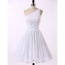 Inexpensive A-Line One Shoulder Knee Length Lace Homecoming Dresses