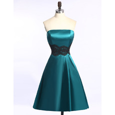 Strapless Knee Length Satin Homecoming Dresses with Sashes