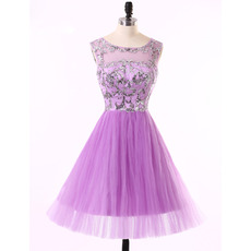 Cute A-Line Sleeveless Short Tulle Rhinestone Homecoming Dresses