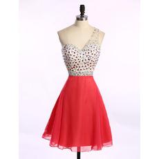 Discount One Shoulder Short Chiffon Rhinestone Homecoming Dresses