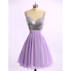 Sexy A-Line Sweetheart Short Chiffon Homecoming Dresses with Straps