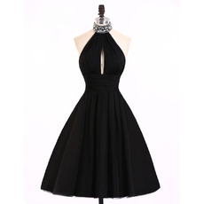 A-Line Halter Knee Length Satin Black Homecoming Dresses