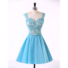 Affordable A-Line Sweetheart Short Satin Applique Homecoming Dresses