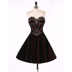 Sexy A-Line Sweetheart Short Taffeta Rhinestone Homecoming Dresses