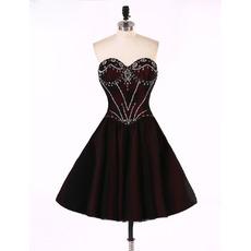 Enchanting Sweetheart Short Satin & Tulle Homecoming Party Dresses with Beading Embellished Bodice