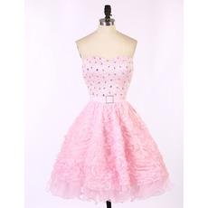 Sweetheart Short Ruffle Skirt Beading Homecoming Dresses