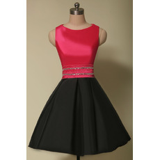 Discount A-Line Sleeveless Short Satin Homecoming Dresses with Crystal Beading Waist