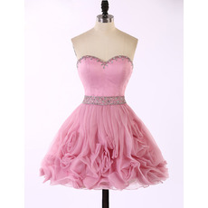Cute A-Line Sweetheart Short Organza Ruffle Skirt Homecoming Dresses