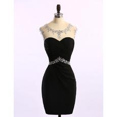 Sexy Sheath Sleeveless Short Satin Black Rhinestone Homecoming Dresses