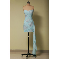 Sheath Strapless Short Chiffon Embroidery Homecoming Dresses