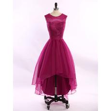 Custom Ball Gown Sleeveless High-Low Satin Homecoming Dresses