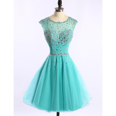 Beautiful A-Line Short Tulle Homecoming Party Dresses with Crystal Beading Embellished