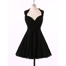 Sexy A-Line Sweetheart Short Chiffon Black Backless Homecoming Dresses