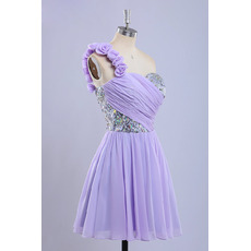 New Style A-Line One Shoulder Short Chiffon Homecoming Dresses