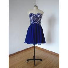 Sweetheart Short Chiffon Rhinestone Homecoming Dresses