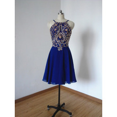 Custom Spaghetti Straps Short Chiffon Rhinestone Homecoming Dresses