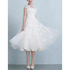 Affordable A-Line Tea Length Organza Garden/ Outdoor Wedding Dresses