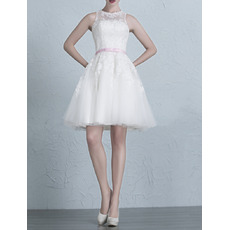 Simple Summer A-Line Short/ Mini Appliques Tulle Wedding Dresses with Belts/ Inexpensive Reception Bride Gowns