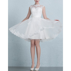Simple A-Line Mandarin Collar Short Appliques Tulle Satin Wedding Dresses/ Inexpensive Reception Bride Gowns