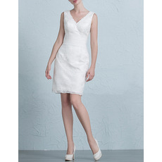 Simple Column/ Sheath V-Neck Short Lace Wedding Dresses with Pleated Waist