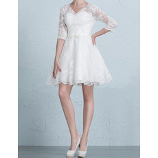 Elegant V-Neck Short/ Mini Wedding Dresses with 3/4 Long Sleeves/ Inexpensive Appliques Tulle Bride Gowns