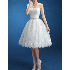Charming Ball Gown Strapless Knee Length Lace Short Wedding Dresses/ Perfect Reception Bride Gowns with Rhinestone Waist