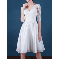 Discount Appliques Deep V-Neck Short Pleated Chiffon Wedding Dresses with Half Sleeves
