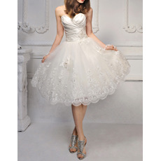 Romantic Sweetheart Knee Length Satin Tulle Wedding Dresses/ Lovely Appliques Bride Gowns with Ruched Bodice