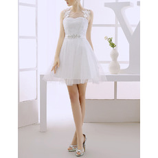 Discount A-Line Illusion Neckline Short Tulle Wedding Dresses with Keyhole