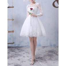 Discount Ball Gown Illusion Neckline Short Tulle Wedding Dresses with Long Sleeves and Appliques