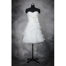Lovely Cute A-Line Sweetheart Short Organza Layered Skirt Wedding Dresses/ Classy Ruched Bodice Bride Gowns