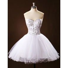 Dramatic Sweetheart Ball Gown Short Tulle Wedding Dresses with Crystal Detailing/ Gorgeous Bling Bling Beach Bride Gowns