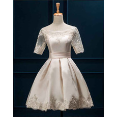 Tailored Off-the-shoulder Satin Short Pleated Wedding Dress with Half Tulle Sleeves/ Elegant Appliques Bride Gowns
