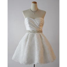 Charming A-Line Sweetheart Short Wedding Dresses with Floral Skirts/ Lovely Bride Gowns with Crystal Detailing