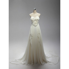 Beautiful Sweetheart Court Train Chiffon Wedding Dresses with Ruffled Bust and Cascade Detail