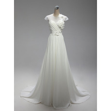 Romantic A-Line Long Train Chiffon Summer Wedding Dresses/ Illusion Neckline Cap Sleeves Bride Gowns with Petal Detailing