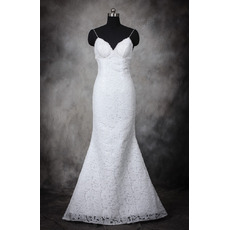 Stylish Sheath Spaghetti Straps Lace Backless Wedding Dresses