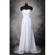 Discount New Arrival Beaded Sweetheart Court Train Pleated Wedding Dresses/ Affordable Bride Gowns with Twist Drape Detail