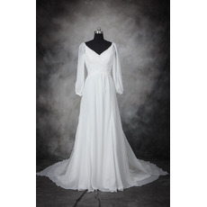 Discount Beaded V-Neck Full Length Chiffon Wedding Dresses with Long Sleeves/ Elegant Pleated Plus Size Bride Gowns