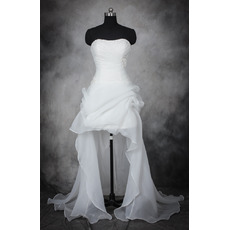 Romantic Beaded Strapless High-Low Hem Ruched Organza Wedding Dresses/ Stylish Asymmetric Pick-up Bride Gowns
