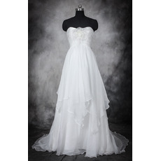 Romantic Court Train Chiffon Two Layered Skirt Wedding Dresses/ Charming Pleated Bride Gowns with Feather and 3D-flowers