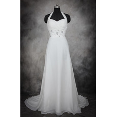 Dramatic A-Line Halter Sleeveless Court Train Chiffon Wedding Dresses/ Summer Beach Bride Gowns with Beaded Rhinestone