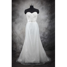 Dramatic A-Line Sweetheart Full Length Satin Organza Wedding Dresses/ Discount Bride Gowns with Beaded and Pleated Waist