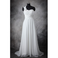 Elegant One Shoulder Flower Strap Sleeveless Court Train Chiffon Wedding Dresses/ Affordable Pleated Bride Gowns